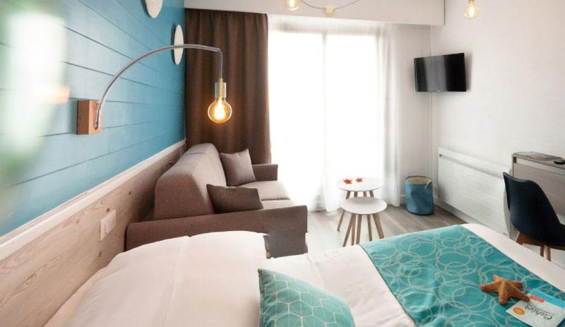 Décoration Hôtel La Côte Océane - Chambre bleue entière