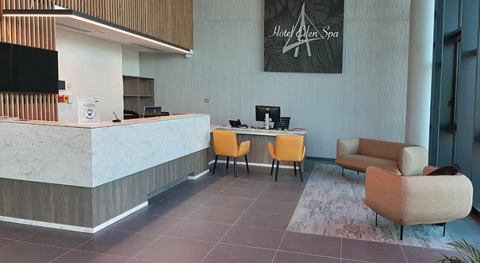 Comptoir d'accueil Eden Spa Honfleur designé par Denantes