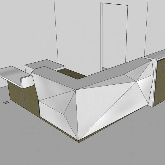 Plan d'une banque d'accueil réalisée par notre architecte - Denantes