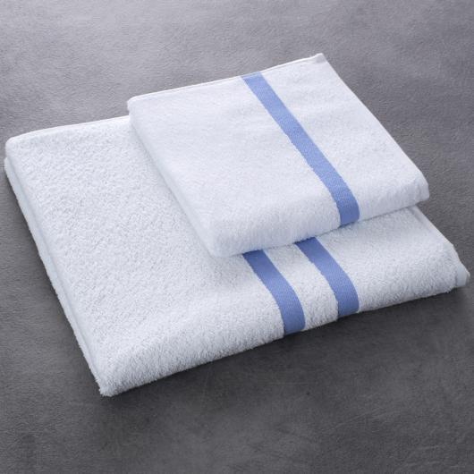 Drap et serviette de bain Eden - coloris bleu