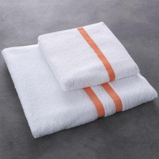 Drap et serviette de bain Eden - coloris saumon