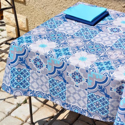 Nappe en tissu Deauville coloris Azur